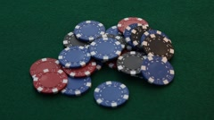 Placing 4 aces on a pile of poker chips. Stock Footage