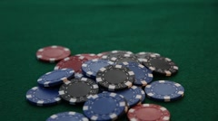 Four Aces being played on pile of poker chips. Stock Footage