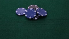 Straight Flush on blue poker chips Stock Footage