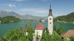 AERIAL: Island with church in the middle of lake Bled - stock footage