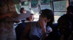 1969: Inside of a short school bus for gifted students. Stock Footage