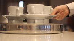 Restaurant coffee table waiter  Stock Footage