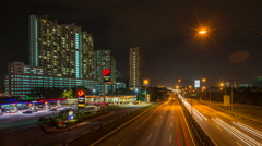 Time lapse of light trail traffic on a freeway Stock Footage