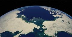 Western Arctic in December.  Medium-high-angle circular tracking shot. Stock Footage