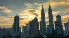 Sunrise Time Lapse at Kuala Lumpur City Centre Stock Footage