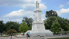 People Walking Around monument in Washington DC (Peace Monument) Stock Footage