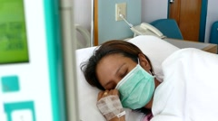 Asian women Patient In Hospital Bed Stock Footage