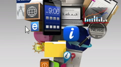 Exploding various information contents in the smart phone, mobile Stock Footage