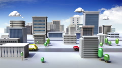 Construction building and Road, build city in animation Stock Footage