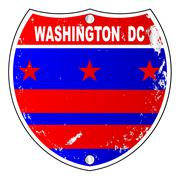 Washington DC Flag Icons As Interstate Sign - stock illustration