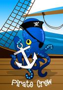 Pirate crew octopus holding an anchor - stock illustration