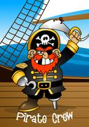 Pirate crew Captain holding a sword - stock illustration
