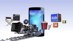 Movie, Drama, VOD contents for Smart phone, Entertainment contents. Stock Footage