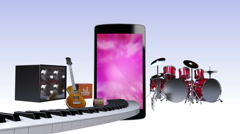 Smart phone, entertainment contents for music concept (included Alpha) Stock Footage