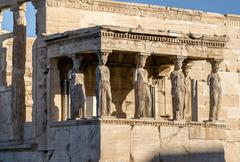 Ancient Caryatides Acropolis of Athens Stock Photos