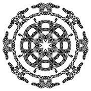 Round pattern, ornate style - stock illustration