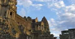 Tourist travel landmark of Angkor Wat Cambodia ancient civilization temple - stock footage