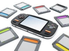 Handheld video game device and retro game cartridges Stock Illustration