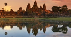 Sunset Angkor Wat Cambodia ancient hindu civilization temple - stock footage