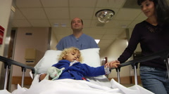 Mother With Child Walking In Hospital - stock footage