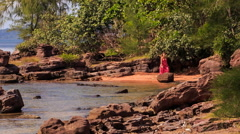 Blond Girl in Red Walks by Rocks along Beach with Plants Stock Footage