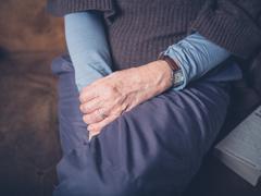Hands of elderly woman - stock photo