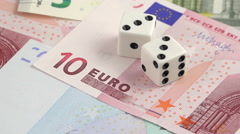 Risk factor on european investments dices on banknotes rotating  Stock Footage