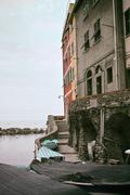 detail of a old house in riomaggiore - stock photo