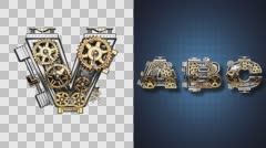 rendered in PNG with alpha channel loop metal and gold mechanical letter v - stock footage