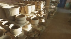 Pottery drying before firing Stock Footage