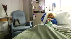 Sick Little Boy In Hospital Bed Coughing - stock footage