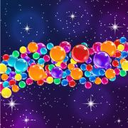 Color balloons on starry night background. - stock illustration