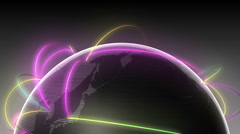 Growing Global Network Black half earth-black background(included Alpha) Stock Footage