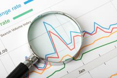 Magnifier with graphical charts - stock photo