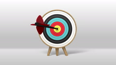 One arrow hitting exactly in the targets 2(included Alpha) - stock footage