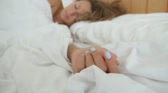 Man Waking Up His Woman in Bed in Morning. Love and Care Arkistovideo