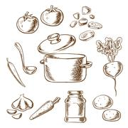 Cooking vegetarian soup with ingredients - stock illustration