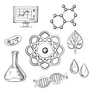 Biology and chemistry sketch icons Stock Illustration