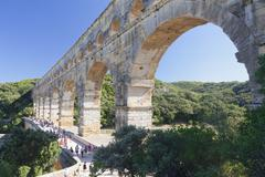 Pont du Gard, Roman aqueduct, UNESCO World Heritage Site, Languedoc-Roussillon, Stock Photos