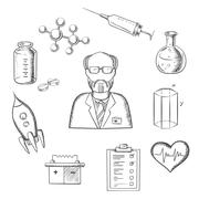 Scientist and science research sketch icons Stock Illustration