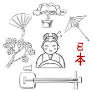 Japanese travel and cultural sketch icons Stock Illustration