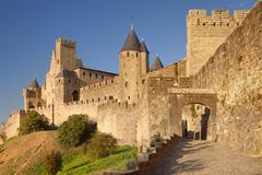 Stock Photo of La Cite, medieval fortress city, Carcassonne, UNESCO World Heritage Site,