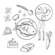 Stock Illustration of Fresh dinner food with sketch vector icons