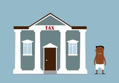 Businessman turned bankrupt after taxes - stock illustration