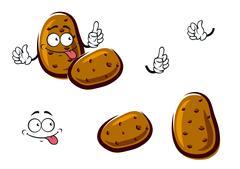 Fresh brown potato cartoon vegetables - stock illustration