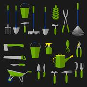 Stock Illustration of Agriculture and gardening tools flat icons
