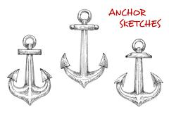 Stock Illustration of Old marine anchors hand drawn sketches