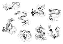 Musical notes and treble clefs on wavy staves Stock Illustration