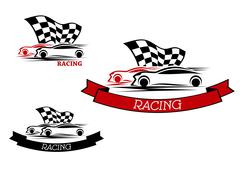 Racing sport emblems with fast cars Piirros