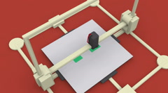 3d printer animation 3d printing object 2 Stock Footage